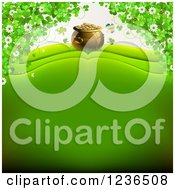 Clipart Of A St Patricks Day Background Of A Pot Of Gold And Shamrocks Royalty Free Vector Illustration by merlinul