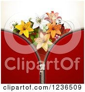 Red Zipper Background With Lily Flowers