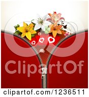 Clipart Of A Zipper Background Of Red With Hearts And Lily Flowers Royalty Free Vector Illustration by merlinul