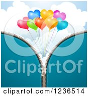 Clipart Of A Blue Zipper Background Over Heart Balloons And Clouds Royalty Free Vector Illustration
