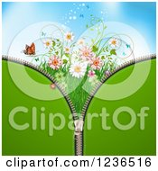 Clipart Of A Green Zipper Background Over Sky With Butterflies A Ladybug And Flowers Royalty Free Vector Illustration by merlinul