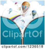 Clipart Of A Blue Zipper Background Over Kites And Hot Air Balloons Royalty Free Vector Illustration by merlinul
