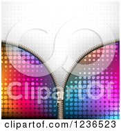 Clipart Of A Colorful Zipper Background Over Gray Halftone 2 Royalty Free Vector Illustration
