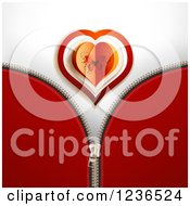 Clipart Of A Zipper Background Of Red With A Butterfly Valentine Heart Royalty Free Vector Illustration