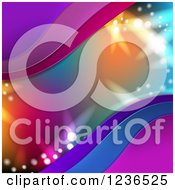 Clipart Of A Colorful Lights And Waves Background Royalty Free Vector Illustration