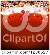 Clipart Of A Red Valentine Background With Waves A Bow Blossoms And Butterflies Royalty Free Vector Illustration by merlinul
