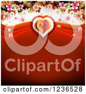 Red Valentine Background With Waves A Butterfly Heart And Blossoms
