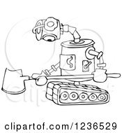 Clipart Of A Black And White Sad Robot With A Snow Shovel Royalty Free Vector Illustration