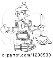 Clipart Of A Black And White Winter Robot With A Snow Shovel Royalty Free Vector Illustration