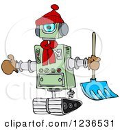 Clipart Of A Winter Robot With A Snow Shovel Royalty Free Vector Illustration