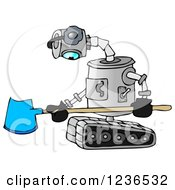 Clipart Of A Sad Robot Holding A Snow Shovel Royalty Free Illustration