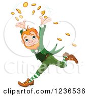 Clipart Of A Cheerful Leprechaun Tossing Coins And Running Royalty Free Vector Illustration by Pushkin