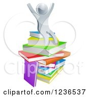 Clipart Of A 3d Silver Person Sitting And Cheering On A Stack Of Books Royalty Free Vector Illustration
