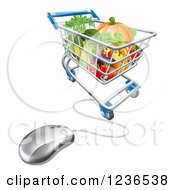 Clipart Of A 3d Computer Mouse Connected To An Online Shopping Cart With Produce Royalty Free Vector Illustration