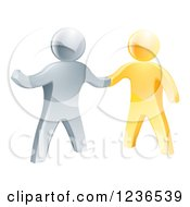 Clipart Of A Handshake Between 3d Gold And Silver Men Royalty Free Vector Illustration by AtStockIllustration
