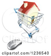 Clipart Of A 3d Computer Mouse Connected To An Online Shopping Cart With A House Royalty Free Vector Illustration