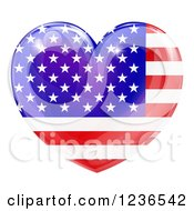 Clipart Of A 3d Reflective American Flag Heart Royalty Free Vector Illustration by AtStockIllustration