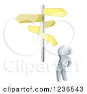 Clipart Of A 3d Silver Man Looking Up At Crossroad Signs Royalty Free Vector Illustration