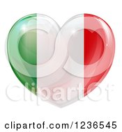 Clipart Of A 3d Reflective Italian Flag Heart Royalty Free Vector Illustration