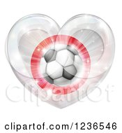 Clipart Of A 3d Japanese Flag Heart And Soccer Ball Royalty Free Vector Illustration