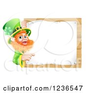 Clipart Of A St Patricks Day Leprechaun Pointing To A Notice On A Wooden Sign Royalty Free Vector Illustration by AtStockIllustration