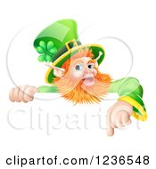 Clipart Of A St Patricks Day Leprechaun Pointing Down To A Sign Royalty Free Vector Illustration