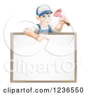 Brunette Male Plumber Holding A Plunger And Pointing Down At A White Board Sign