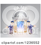 Clipart Of A FAME Venue Entrance With Welcoming Friendly Doormen Royalty Free Vector Illustration by AtStockIllustration