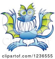 Clipart Of A Blue Dragon Monster With Green Wings Royalty Free Vector Illustration