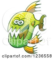 Clipart Of A Scary Green Carnivorous Fish Royalty Free Vector Illustration by Zooco