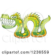 Clipart Of A Green Sea Serpent Monster Royalty Free Vector Illustration by Zooco #COLLC1236559-0152