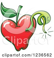 Clipart Of A Worm Emerging From A Red Apple Royalty Free Vector Illustration