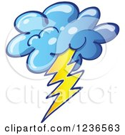 Clipart Of A Storm Cloud With Lightning Royalty Free Vector Illustration by Zooco