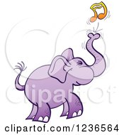 Clipart Of A Purple Elephant Blowing Out A Music Note Royalty Free Vector Illustration by Zooco
