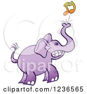 Clipart Of A Purple Elephant Squeezing Out A Music Note Royalty Free Vector Illustration by Zooco