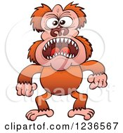 Clipart Of A Mad Screaming Ape Royalty Free Vector Illustration by Zooco