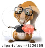 Clipart Of A 3d Bespectacled Business Squirrel Holding A Piggy Bank And Presenting Royalty Free Illustration