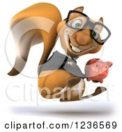 Clipart Of A 3d Bespectacled Business Squirrel Hopping With A Piggy Bank Royalty Free Illustration