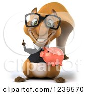 3d Bespectacled Business Squirrel Holding A Piggy Bank And Pointing Up