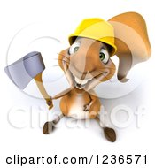 Clipart Of A 3d Squirrel Construction Worker Holding An Axe And Looking Up Royalty Free Illustration