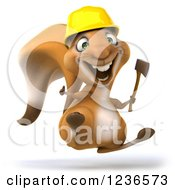 Clipart Of A 3d Squirrel Construction Worker Holding An Axe And Thumb Up Royalty Free Illustration