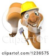 Clipart Of A 3d Squirrel Construction Worker Holding An Axe And Looking Around A Sign Royalty Free Illustration