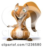 Clipart Of A 3d Squirrel Presenting Royalty Free Illustration