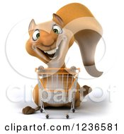 Clipart Of A 3d Squirrel Pushing A Shopping Cart Royalty Free Illustration by Julos