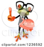 Clipart Of A 3d Bespectacled Green Business Springer Frog Holding A Piggy Bank And Thumb Up Royalty Free Illustration