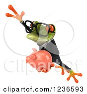 Clipart Of A 3d Bespectacled Green Business Springer Frog Leaping With A Piggy Bank Royalty Free Illustration