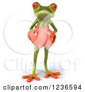 Clipart Of A 3d Green Springer Frog Holding A Piggy Bank Royalty Free Illustration