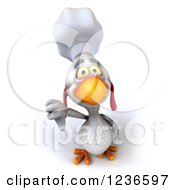 Clipart Of A 3d White Chef Chicken Holding A Thumb Down Royalty Free Illustration by Julos