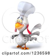 3d White Chef Chicken Walking 2