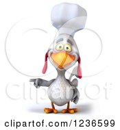 3d White Chef Chicken Pointing